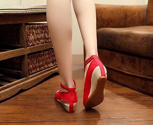 WXT Zapatos bordados finos, lino, lenguado del tendón, estilo étnico, zapatos femeninos, manera, cómodo, zapatos de lona aumentados red purple