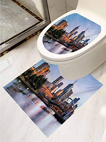 City Decal Wall Art Decor Bathroom Sticker 2-Piece Suit Early Morning Scenery in Melbourne Australia Famous Yarra River Scenic Removable Sticker Orange Green Pale ()