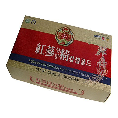 KOREAN HEAVEN RED GINSENG Korean Red Ginseng - Daily Health Care, Soft Capsule Gold Type, 550mg-180Caps