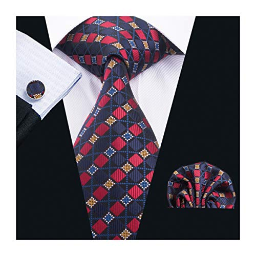 Barry.Wang Plaid Tie Silk Woven Check Necktie Pocket Square Cufflinks Set Wedding Formal (Red Navy)