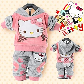 c4b38adf5 Baby 2pcs suit set tracksuits Girl's Hello Kitty clothing sets velvet Sport  suits hoody jackets +pants (12-18 months, Pink): Amazon.ca: Baby