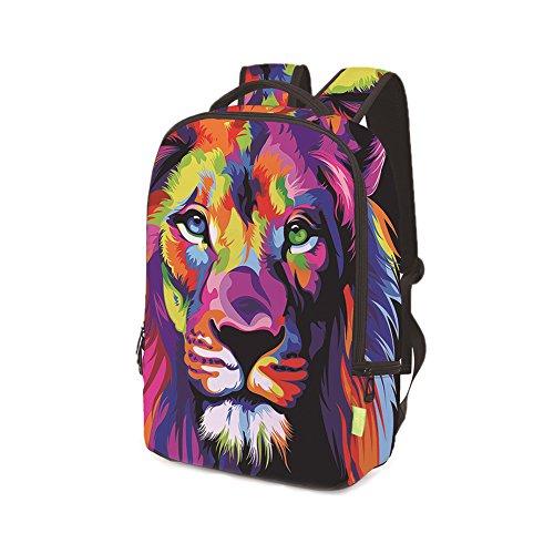 Sulida 3D Lion Printing Rucksack Schultasche Schulter Bookbag für Teen Jungen Mädchen verschleißfest reißfestig 4hhbyChiS