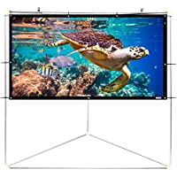 Pyle 100' Outdoor Portable Matt White Theater TV Projector Screen w/Triangle Stand - 100 inch, 16:9, 1.15 Gain Full HD Projection for Movie/Cinema/Video/Film Showing outside Home - PRJTPOTS101