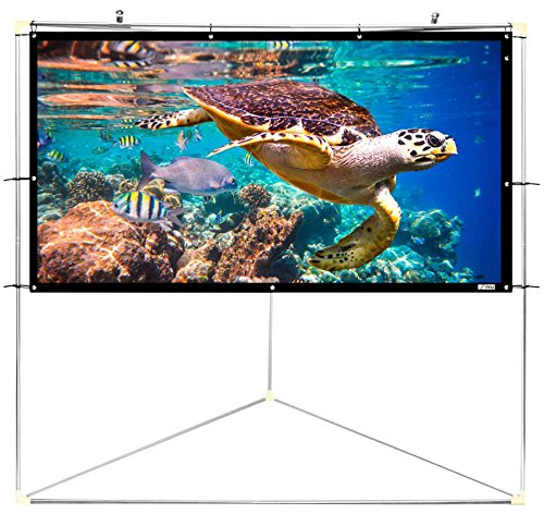 Pyle 100' Outdoor Portable Matt White Theater TV Projector Screen w/Triangle Stand - 100 inch, 16:9, 1.15 Gain Full HD Projection for Movie/Cinema/Video/Film Showing Outside Home - PRJTPOTS101 SOUFV - pallet ordering