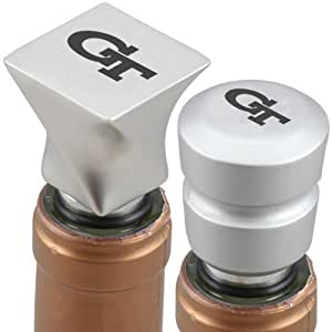 NCAA Georgia Tech Yellow Jackets Brushed Metal Wine Stoppers