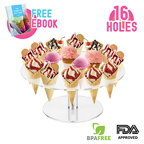 Ice Cream Cone Holder Stand with 16 Holes Capacity, Clear Acrylic Waffle Cone Holder for Mini Ice Cream Cones Snow Cone Hand Roll Sushi Popcorn Sweets Savory, Ice Cream Recipe Ebook Included ()