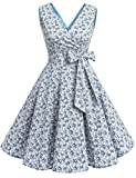 DRESSTELLS Vintage 1950s Solid Color V Neck Retro Swing Dress With Bow Tie Light Blue Flower M