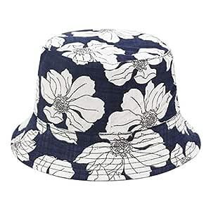 Rundafuwu Fishing Hats Bucket Hat Packable Garden with Grass and Blooms Print Sun Hat Fisherman Hat Cap Outdoor Camping Fishing Safari for Men Women Black