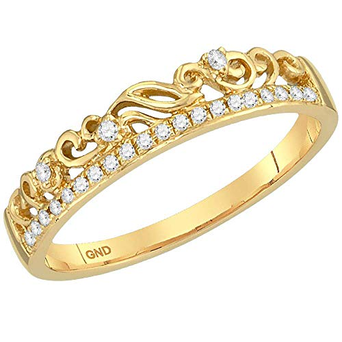 FB Jewels 10kt Yellow Gold Womens Round Diamond Floral Accent Stackable Band Ring 1/12 Cttw (I2 clarity; I-J color)