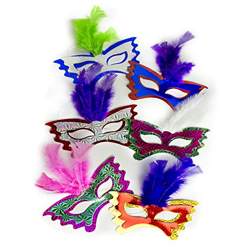 Fun Central AT770 Feather Masks Assorted 12ct (Feathered Masquerade Mask)