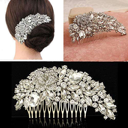 Wedding Party Bridal Pearls Decor Flower Hair Comb Hairpin Decoration Silver