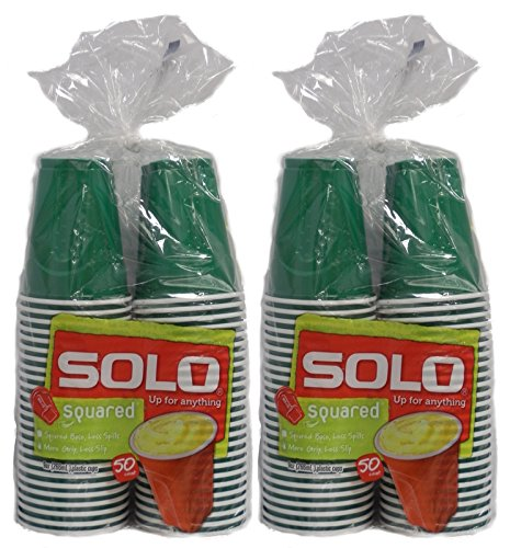 Solo Squared Party Cups, Green 9oz, 100 Cups ()