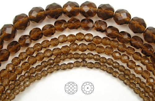 6mm (68) Smoked Topaz, Czech Fire Polished Round Faceted Glass Beads, 16 inch (Topaz Round Firepolish Glass Bead)