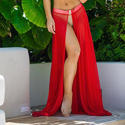 Falda Mujer, Ouneed Mujer playa cubrir bikini traje de baño encubrimiento sarong falda Rojo