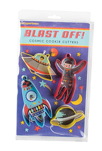(Party Partners Blast Off Cosmic Assorted Cookie Cutters (Set of 4), Multicolor)