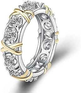 White & Yellow Gold Filled Wedding Band Ring