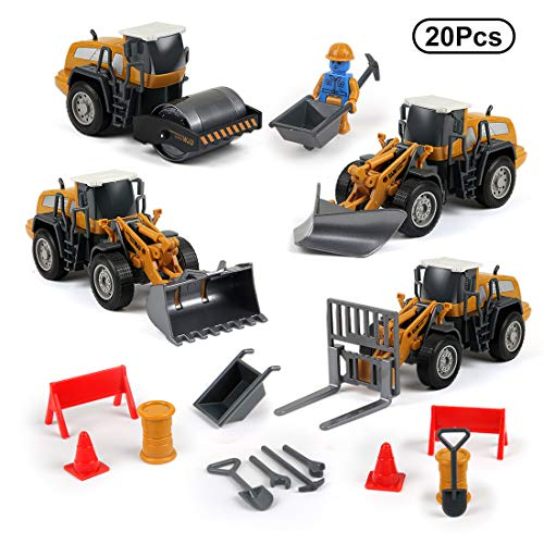 Construction Equipment - 4-in-1 Take Apart Die Cast Car Toys,Construction Equipment Trucks Set with Equipment Vehicles, Builder, Roadblock, Cones and Accessories ,Pretend Engineering Game for Boys Girls Toddlers Kids