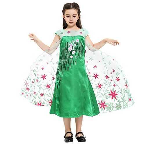 Disney Frozen- Elsa vestido, Color verde party-fever, 3-4 años (Katara 0730133653780)