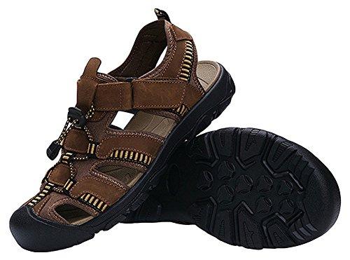 Agowoo Vrouwen Dichte Teen Sandalen Wandelen Strand Outdoor Sandles Shallow_brown