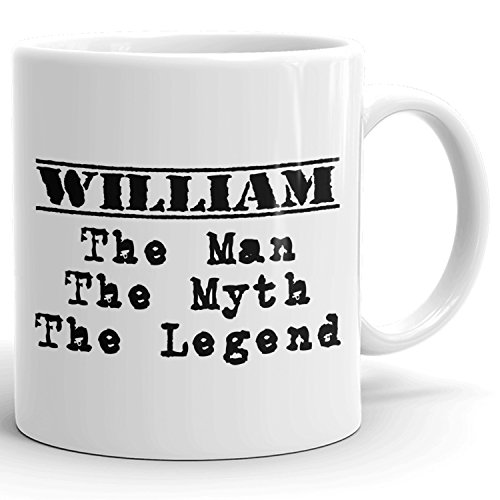 Best Personalized Mens Gift! The Man the Myth the Legend - Coffee Mug Cup for Dad Boyfriend Husband Grandpa Brother in the Morning or the Office - W Set 1