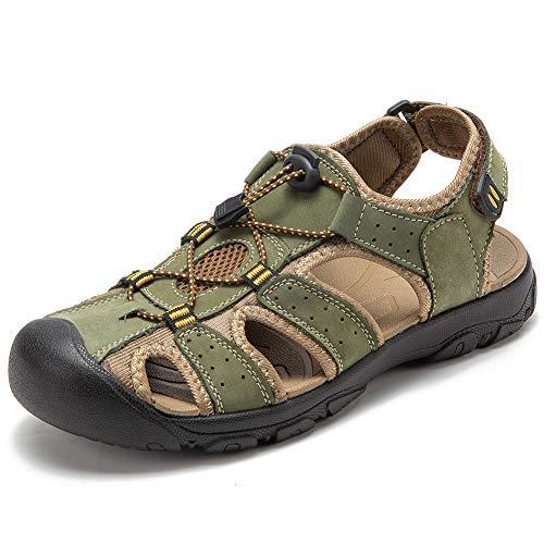 ef2bb11bba15b4 GUBARUN Men Sports Sandals Outdoor Athletic Slides Leather Fisherman Beach  Shoes Traveling