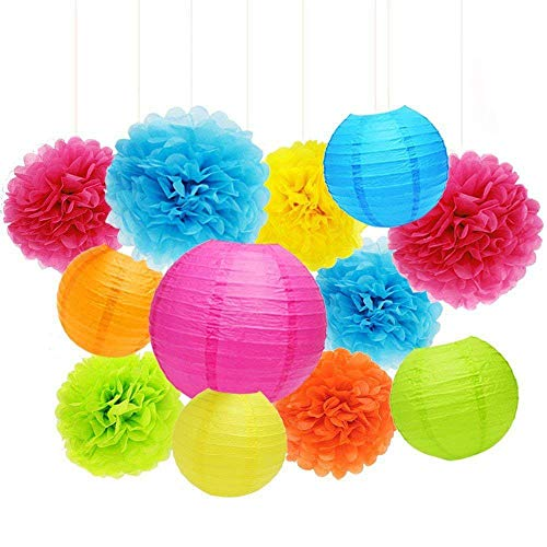 (ZJHAI Set of 20 Assorted Rainbow Color Paper Pom Poms and Paper Lanterns, 5 Colors, for Party, Baby Shower and Wedding)