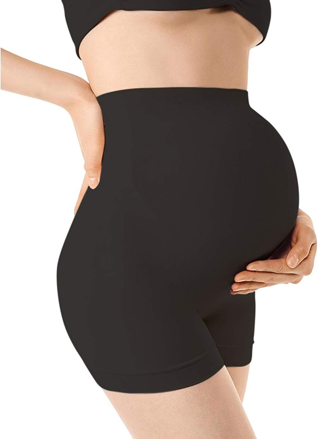 +MD Seamless Maternity Underwear High Waist Belly Support Shapewear Over Bump Mid-Thigh Pregnancy Panties for Dresses