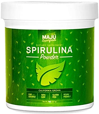 California Grown Spirulina Powder: #1 Rated, Non-Irradiated, Non-GMO, Spirulina Recipe eBook with Purchase, Vegan, Gluten-free