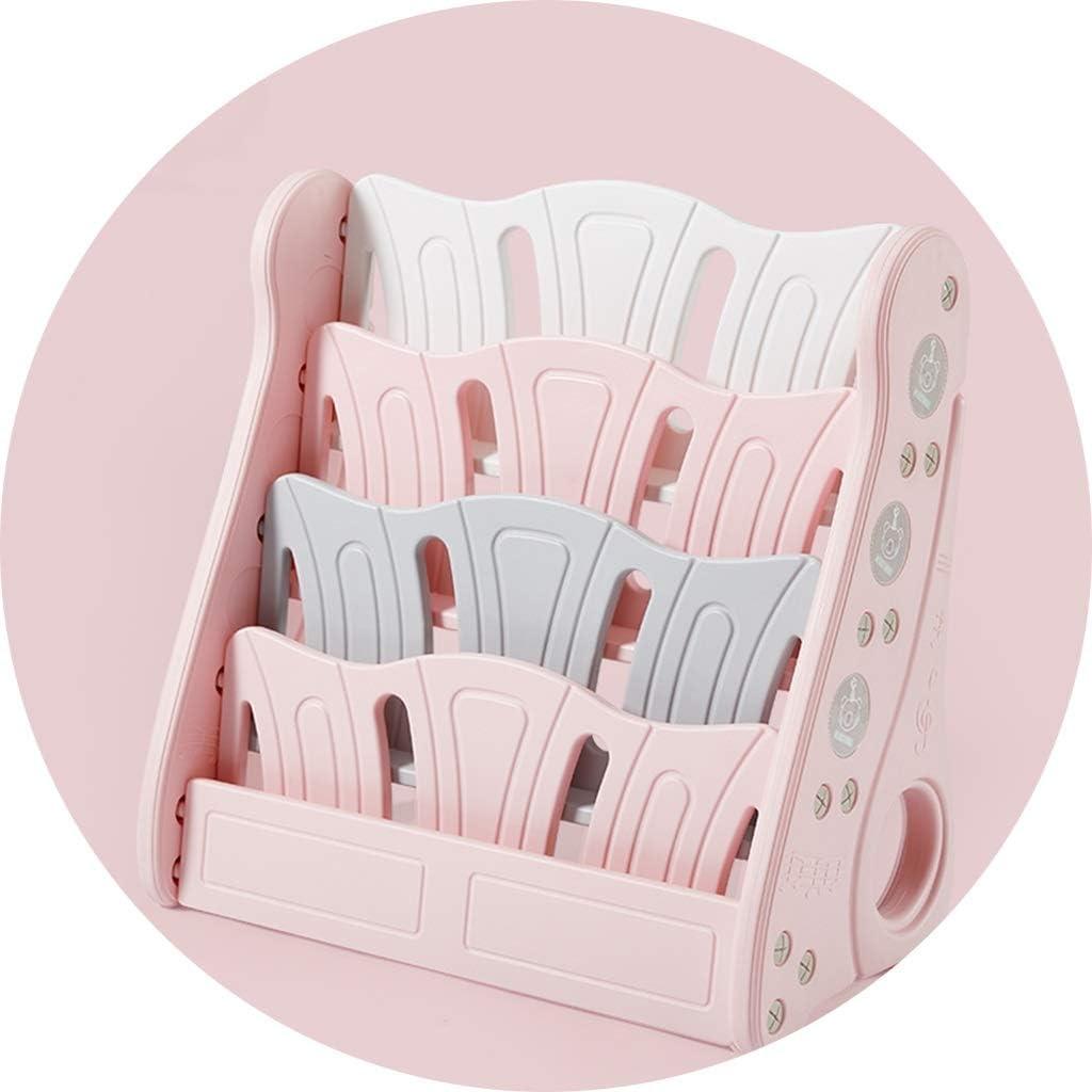 おもちゃ・絵本ラック 子供の本棚絵本の棚赤ちゃんのおもちゃ収納棚幼稚園収納キャビネットプラスチック仕上げラックギフト (Color : Pink, Size : 80x38x80cm)