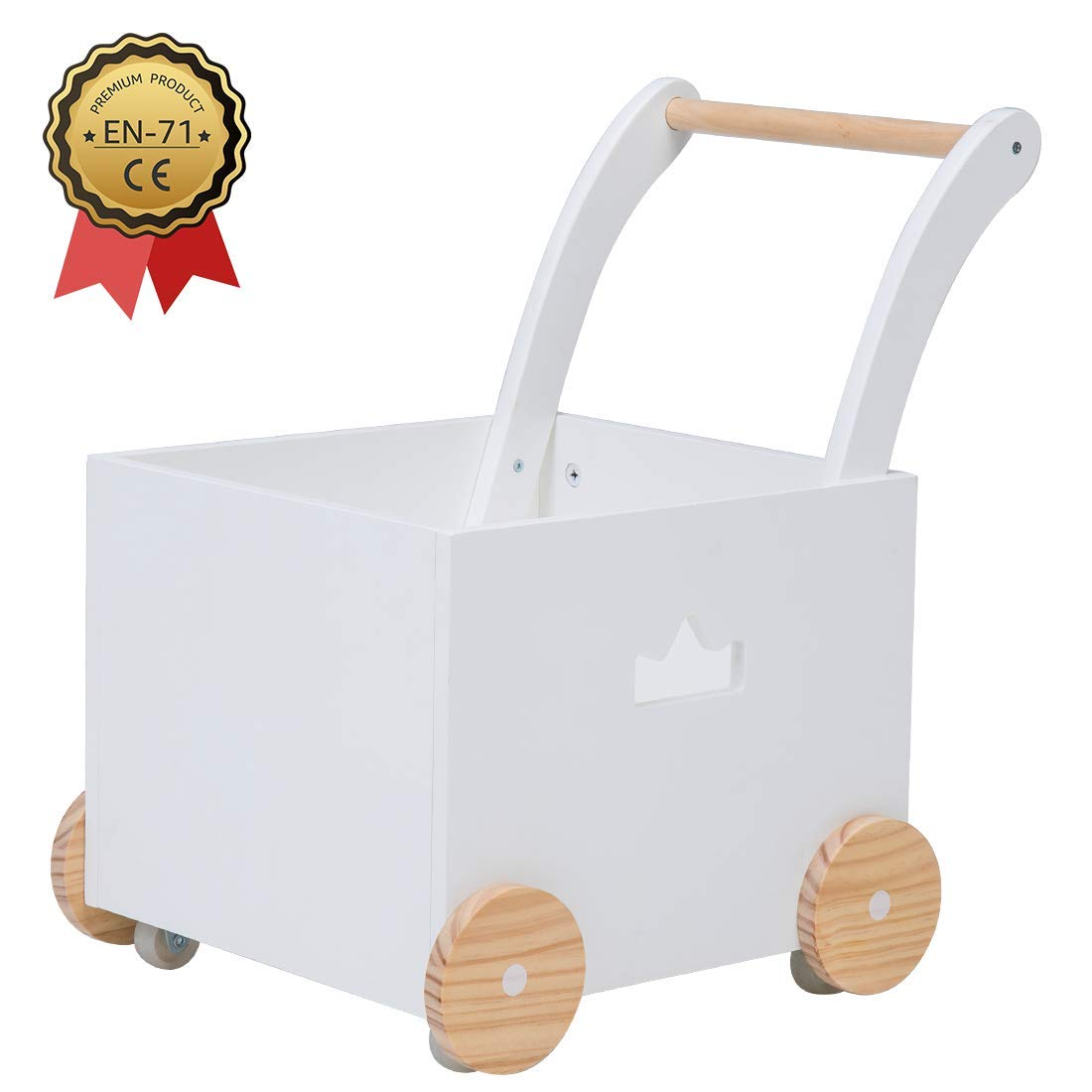 Crown Children 2-in-1 Baby Learning Walker Wooden Strollers with Blocks - Toddler Baby Push Walker Toys with Wheels for Girls Boys 1-3 Years Old, Wagon Toy Walkers Sturdy Construction (Square)