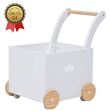 Wagon Toy Walkers Sturdy Toddler Baby Push Pull Trolley Toy Walker with Wheels for Girls Boys 1-3 Years Old Crown Children 2-in-1 White Wooden Baby Activity Walker Strollers with Blocks