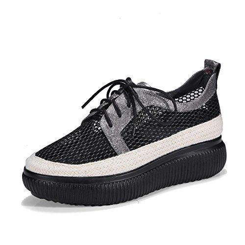 MUYII Zapatos De Malla Transpirable Para Mujer Zapatos De Plataforma Con Suela Floja Zapatos Ocasionales Con Cordones GunColor