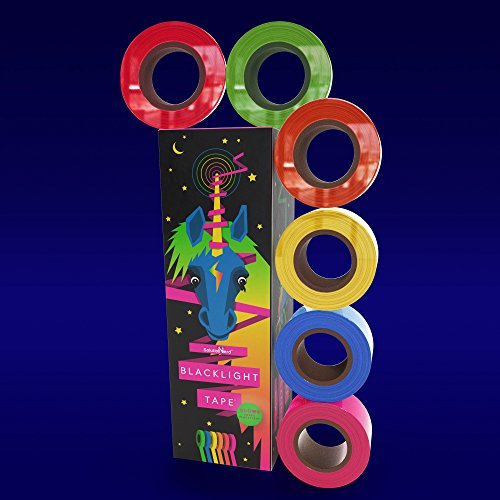 Fluorescent UV Blacklight Reactive Tape Rolls, 6 Pack, 6 Colors, 1 inch X 25 ft per roll, Extra Wide, Blue, Yellow, Green, Orange, Red, Pink, Neon Gaffer Tape, Decorate for Birthdays, Partys