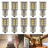JAVR - Pack of 10-3000K Warm White 1156 BA15S 1141 1003 1073 7506 LED Bulbs 5050 27-SMD Replacement Lamps for 12V Interior RV Camper Trailer Lighting Boat Yard Light Bulbs