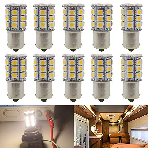 JAVR - Pack of 10-3000K Warm White 1156 BA15S 1141 1003 1073 7506 LED Bulbs 5050 27-SMD Replacement Lamps for 12V Interior RV Camper Trailer Lighting Boat Yard Light Bulbs (Best Warm Led Bulb)
