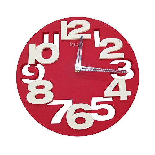 DYQWT 3D Big Digital Modern Contemporary Home Office Decor Round Quartz Wall Clock,Red
