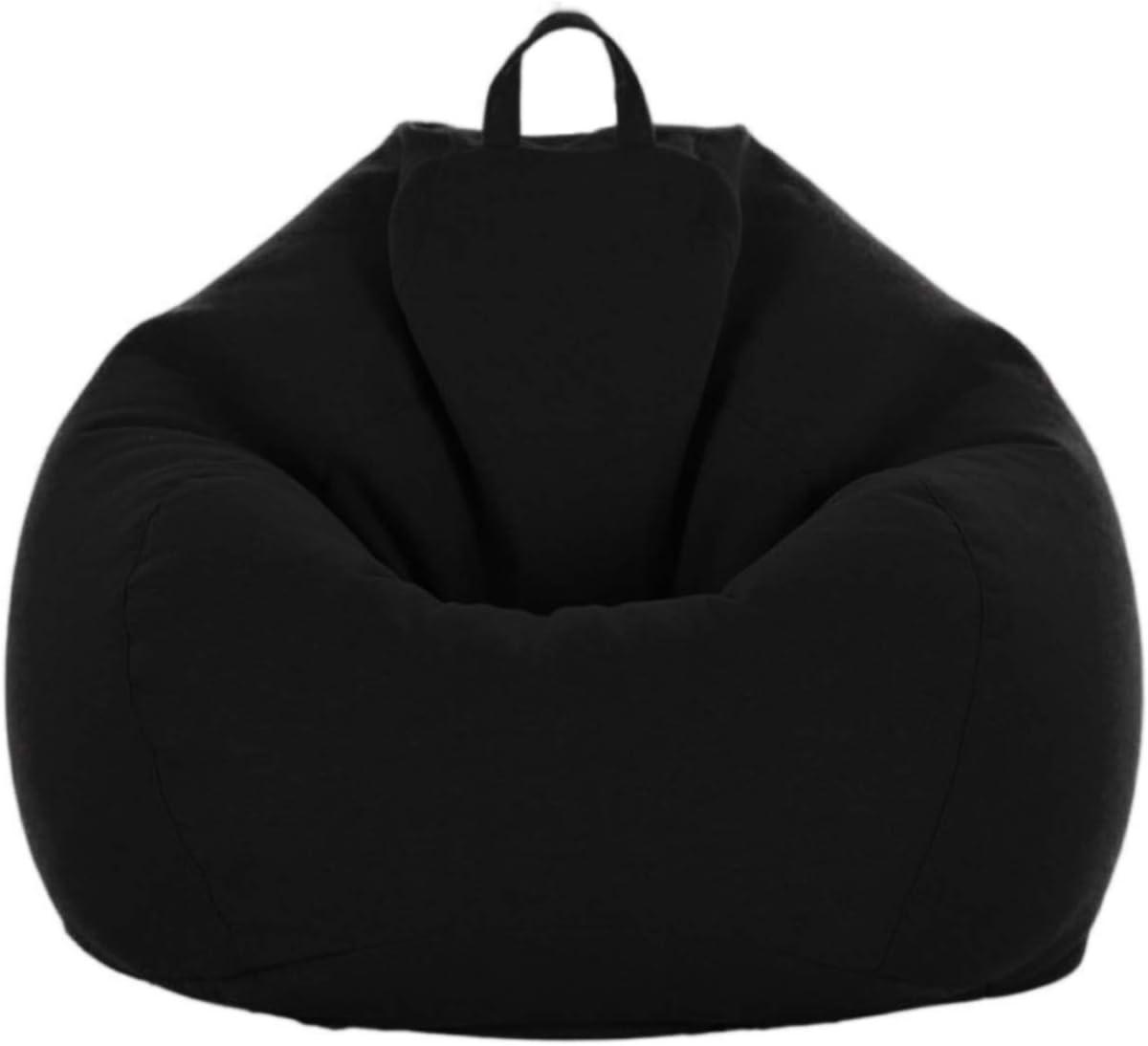 "iBccly [No Filler] Bean Bag Chair Cover, Soft Bean Bags Chairs for Kids Teens | Stuffable Zipper Beanbag for Organizing Children Plush Toys for Garden Lounge Dorm Room (Black, L-35.4""x 43.3"")"