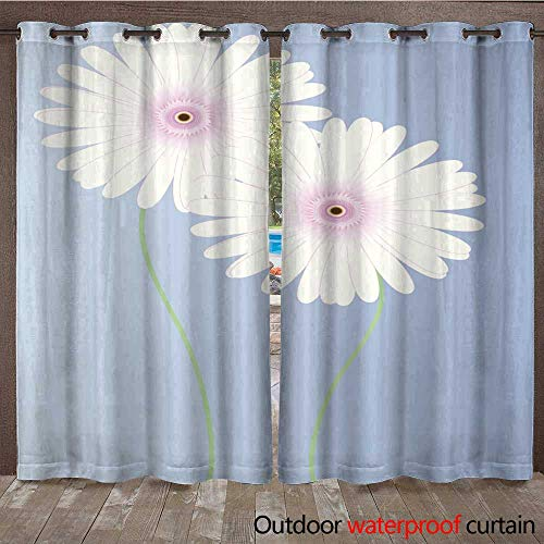 Balloons Gerbera Daisy (RenteriaDecor Outdoor Curtain for Patio Gerbera Daisy incl JPEG W84 x L108)
