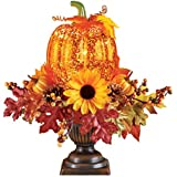 Collections Etc Lighted Pumpkin Harvest Floral Arrangement
