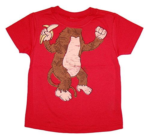 Peek-A-Zoo Toddler Become an Animal Short Sleeve T shirt - Monkey Red (2T)]()