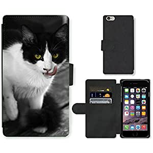 PU LEATHER case coque housse smartphone Flip bag Cover protection // M00133882 Gato Animales Gatos Cat Face Fauna // Apple iPhone 6 PLUS 5.5""