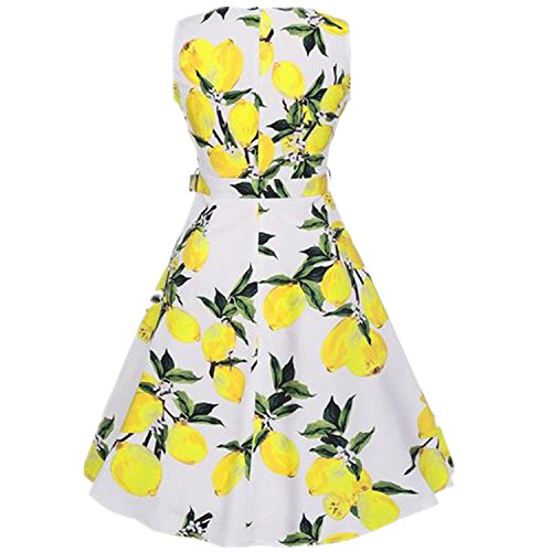 Aimeila Fashion Summer Audrey hepburn Dress Women's O-neck sleeveless Floral Robe Rockabilly 50s Vintage Vestidos Party Dress picture color XL