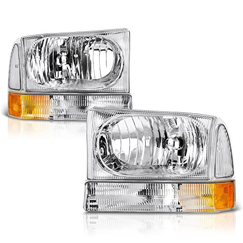 VIPMOTOZ Chrome Housing Headlight & Clear Turn Signal Corner Lamp Assembly Set For 1999-2004 Ford Superduty F-250 F-350 Pickup Truck & Excursion, Driver & Passenger Side (Duty Pickup 04 F350)