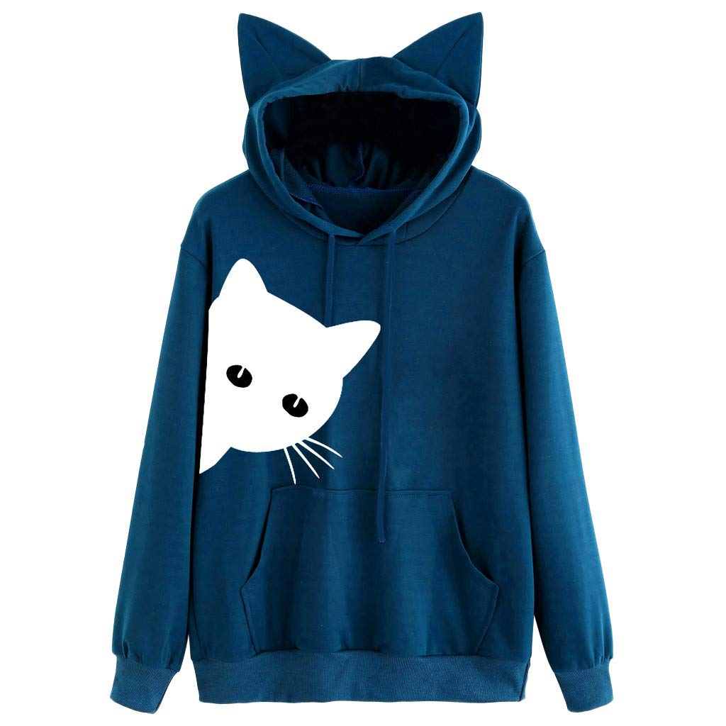✔ Hypothesis_X ☎ Women's Long Sleeve Loose Pockets Cute Cat Print Ear Pullover Hoodie Sweatshirt Blue by ✔ Hypothesis_X ☎ Top