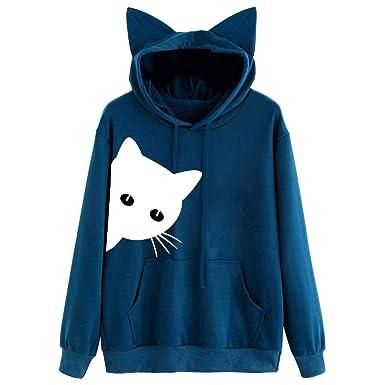 MEIbax Casual Moda Sudadera con Capucha para Mujer con Orejas de Gato de Moda Gato Estampado Manga Larga Pullover Tops Blusa Mejor Venta Superior Tops ...
