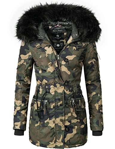 Marikoo Manteau dhiver pour femme (fabrication vgane) Camouflage