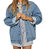 Women Coat Autumn Winter Denim Jacket Vintage Long Sleeve Loose Short Jeans Coat (XL, Sky Blue)