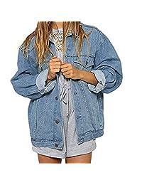 Alixyz Oversized Denim Jacket for Women Long Sleeve Boyfriend Jeans Jacket Loose Coat