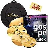 "Zildjian Gospel Pack Cymbal Set Bundle with Gig Bag, 14"" A Custom Mastersound Hi-Hats, 17"" A Custom Fast Crash, 18"" A Custom EFX, and 21"" A Custom Anniversary Ride"