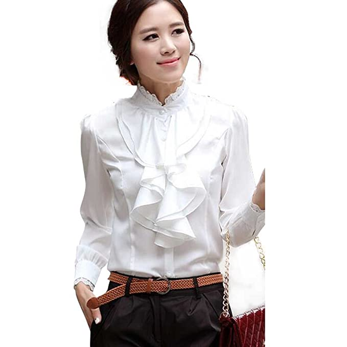 1930s Style Tops, Blouses & Sweaters Lace Ruffle Neck Long Sleeve Stand Collar OL Shirt Tops Blouse $17.83 AT vintagedancer.com